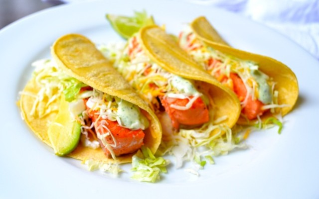 Salmon Tacos with Cilantro Lime Sauce